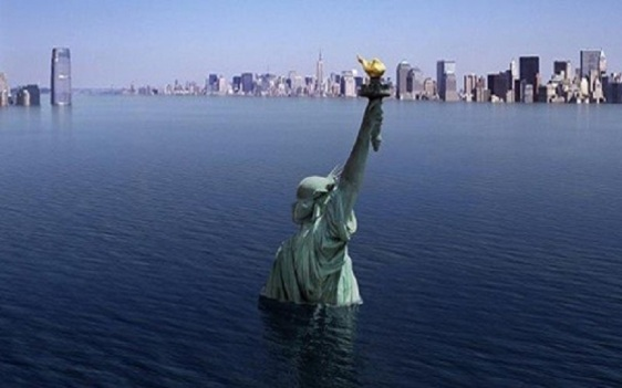 Sinking statue of Lib